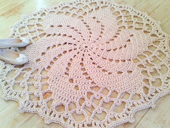 Crochet Rope Cord Giant Doily Rug 100% Cotton Round by KnitJoys