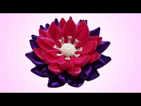 DIY kanzashi flower, Lotus kanzashi flower tutorial - YouTube