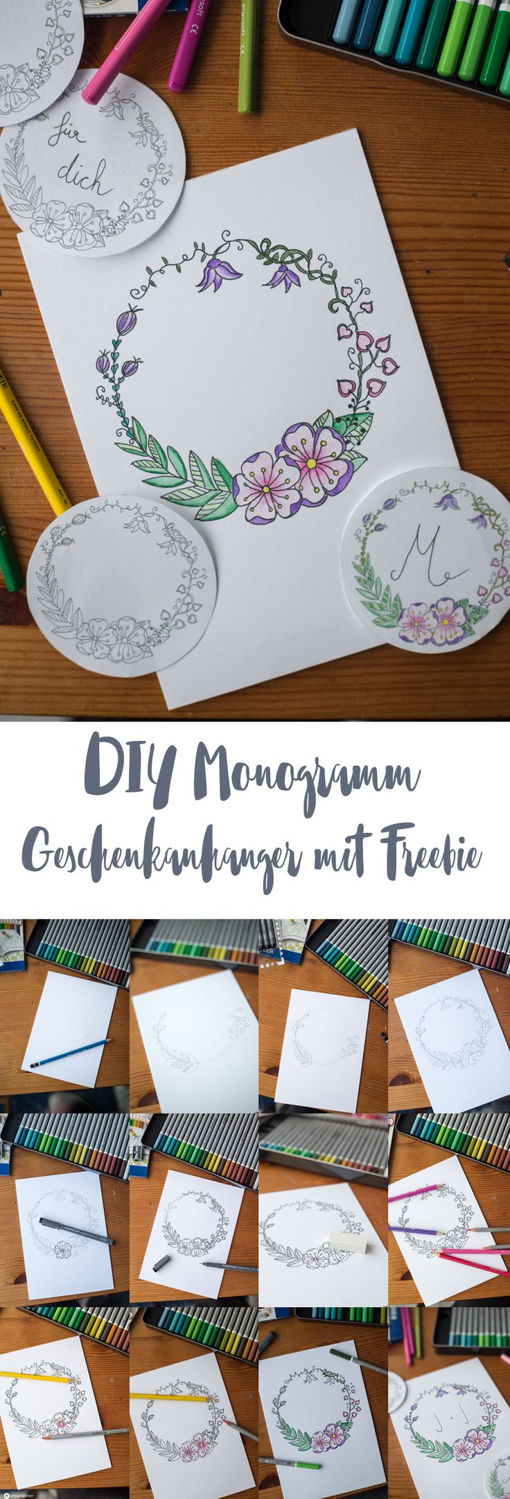 DIY Monogramm Geschenkanhänger Schritt für Schritt zeichnen - mit Freebie zum Download