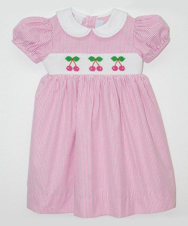 Pink Stripe Cherry Smocked Dress