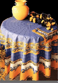 French Country Table Cloth; Authentic Provencal Design  Manosque Blue U0026  Yellow