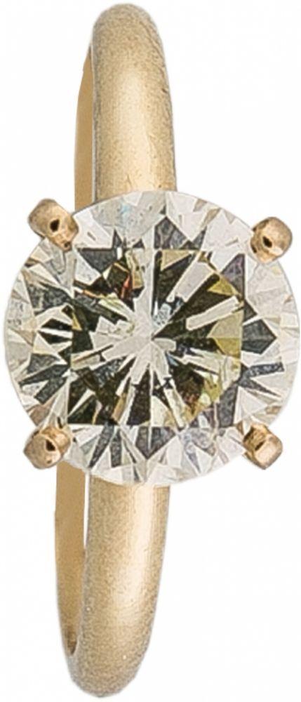 Solitär-Brillantring585-er Gelbgold, ca 2,9 g. Klassischer Solitärring, in schlichter Krappenfassu — Schmuck
