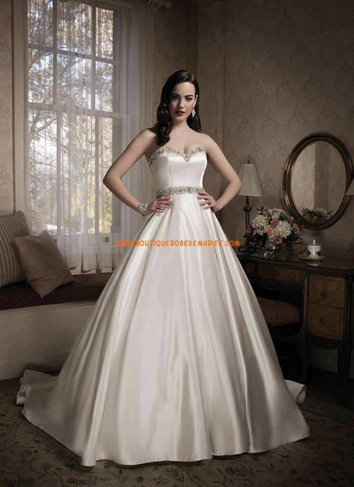 Robe de marie princesse satin perles avec ceinture