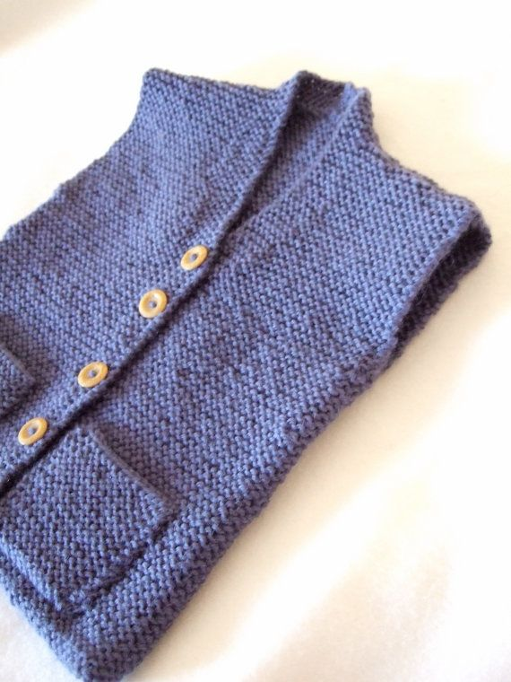 100% superwash Wool Denim Blue. Hand knitted French style boys vest, waistcoat, slip over, sleeveless cardigan. To fit approx 6-12 months.