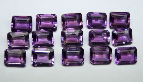 Calibrated 8x10 MM Natural Purple Amethyst Emerald Cut Octagon Loose Gem AAA