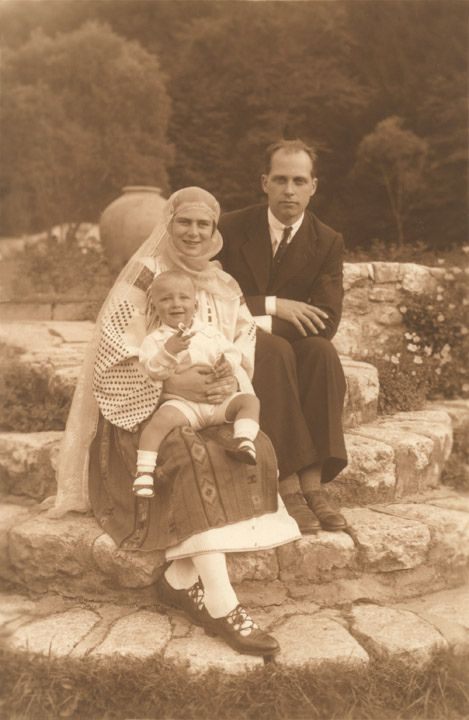 Princess Ileana of Romania with her husband Archduke Anton of Austria and their son, Archduke Stefan