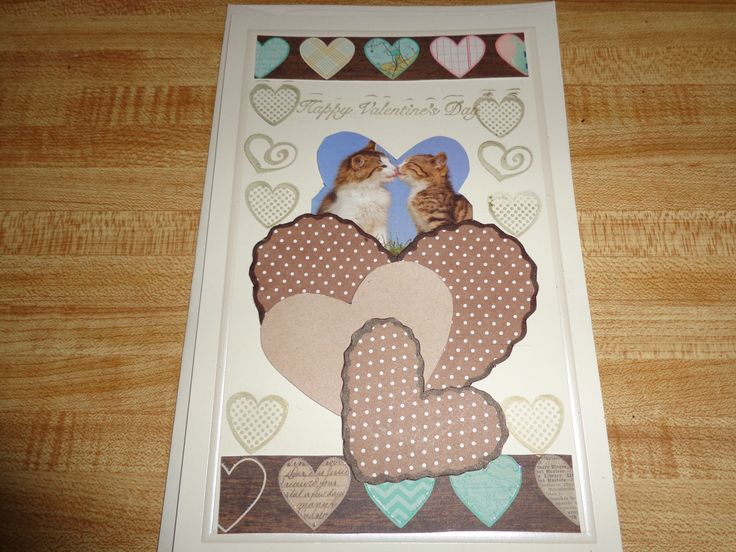 This is my 2014 St Valentine's card for my son,Sam, who volunteers at an animal shelter for kitties....notice the kissing kitties in this card.