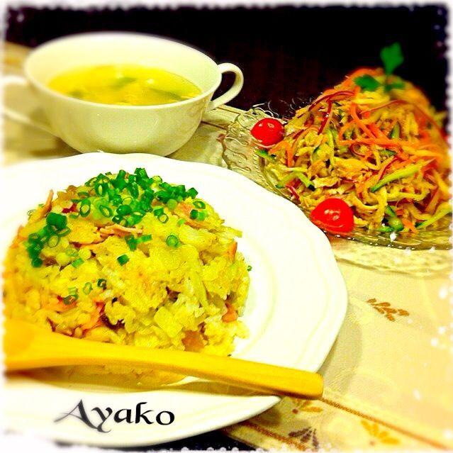 搾菜が余っていたので、炒飯に入れてみました♪搾菜を入れる事で、油を殆ど使わなくても、パラパラになります(*^^*) キャベツたっぷりで、ボリュームもアップ‼︎ - 152件のもぐもぐ - キャベツたっぷり搾菜キャベツ炒飯、切り干し大根の中華風サラダ、卵スープ by ayako1015