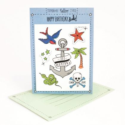 Celebrate your favourite Captain.  Write your message on the back of the card. The person who receives it can then cut out and stick on the temporary tattoos attached to suit the occasion.