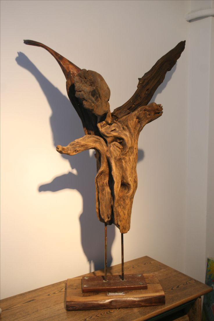 Driftwood sculpture the Fallen Angel.  Height 1,20cm (80cmX55cm) . Driftwood pieces stick together creating a form of an angel. Find it at https://diziedesignf.patternbyetsy.com