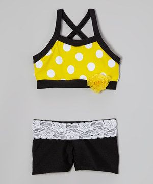 This Elliewear Yellow Polka Dot Sports Bra & Black Shorts - Girls by Elliewear is perfect! #zulilyfinds