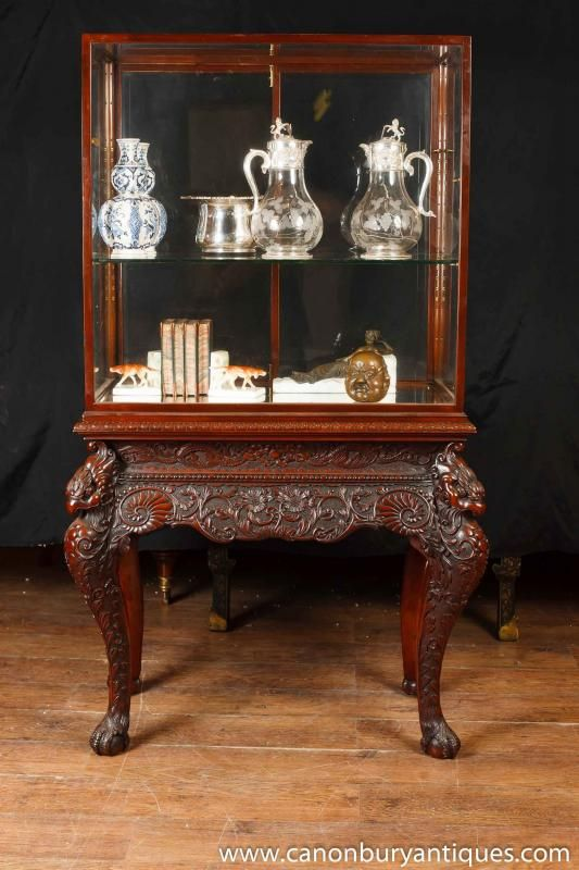 Photo of Antique Collectors Display Cabinet Chinese Chippendale Mahogany. Large range of glass display cabinets and antique display cabinets
