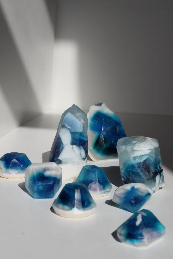 Blue Crystal Soaps by ThreeAtHome on Etsy