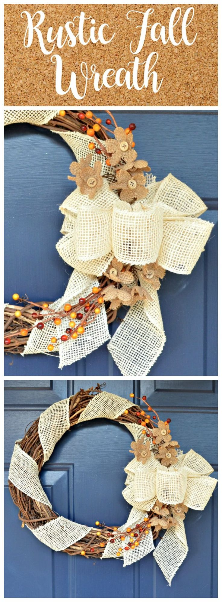 Simple but stunning Rustic Fall Wreath DIY by One Artsy Mama. Click to see the Tutorial