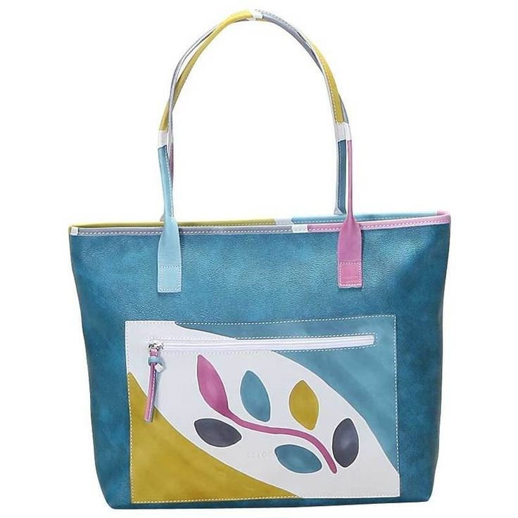 Shopper handbag in fabric material with handles and external pocket in natural hand painted leather, lining inside and pocket inside. Colored and lively it's ideal for free time, capacious and comfortable. Colors pink yellow light blue and grey on light blue background and pattern branch.