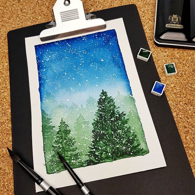 Let it snow ❄️❄️❄️ watercolor Christmas tree illustration