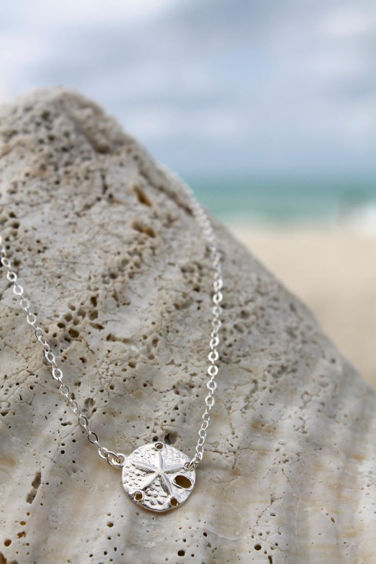 Silver sand dollar necklace, All 925 sterling silver sand dollar Necklace, beach wedding, sea life, simple everyday jewelry, summer, shell