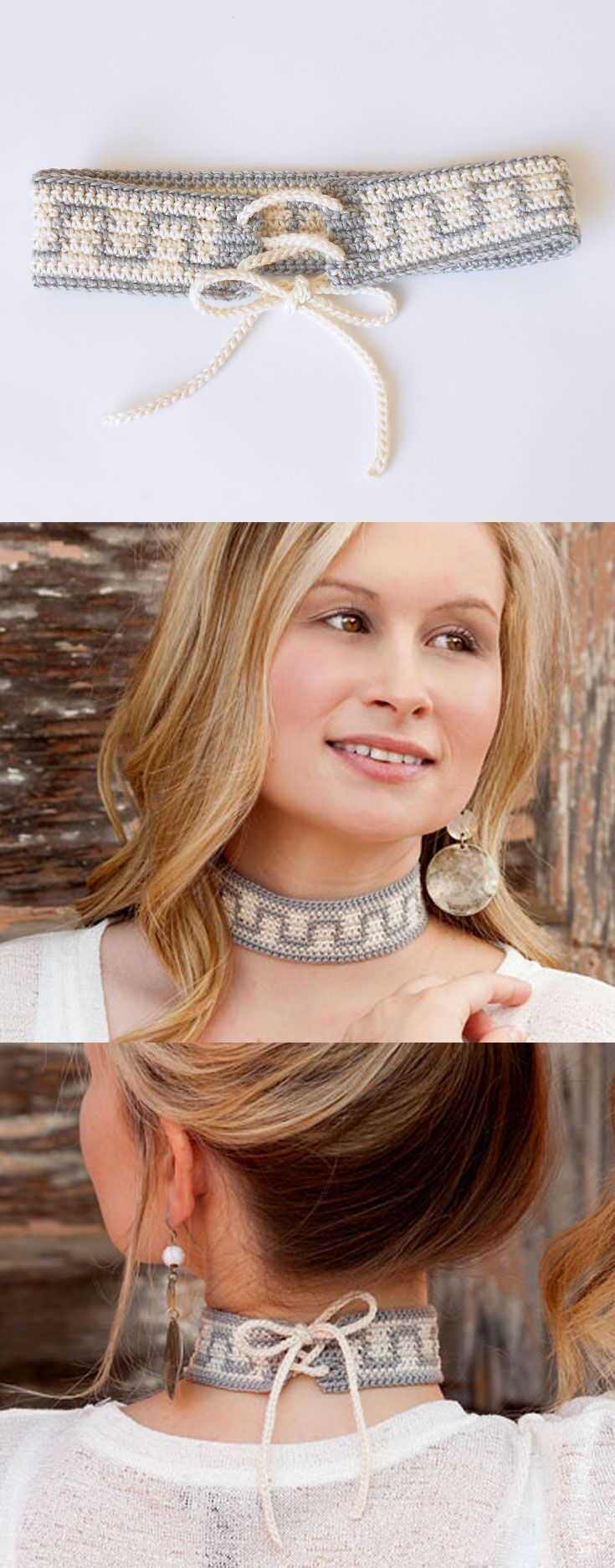 Tie Up Choker, in Learn to Tapestry Crochet book, that includes basic steps on how to carry and wrap yarn, change colors, step-by-step photos, written instructions and charts. A great learn-to book! Also included are 6 projects perfect for a beginner.