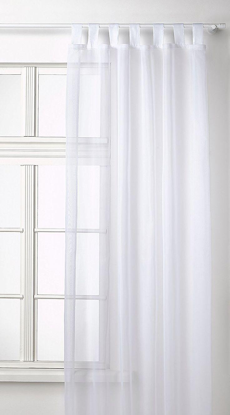 Amazon.de: Transparente einfarbige Gardine aus Voile, viele attraktive Farben, 245x140, Weiß, 61000