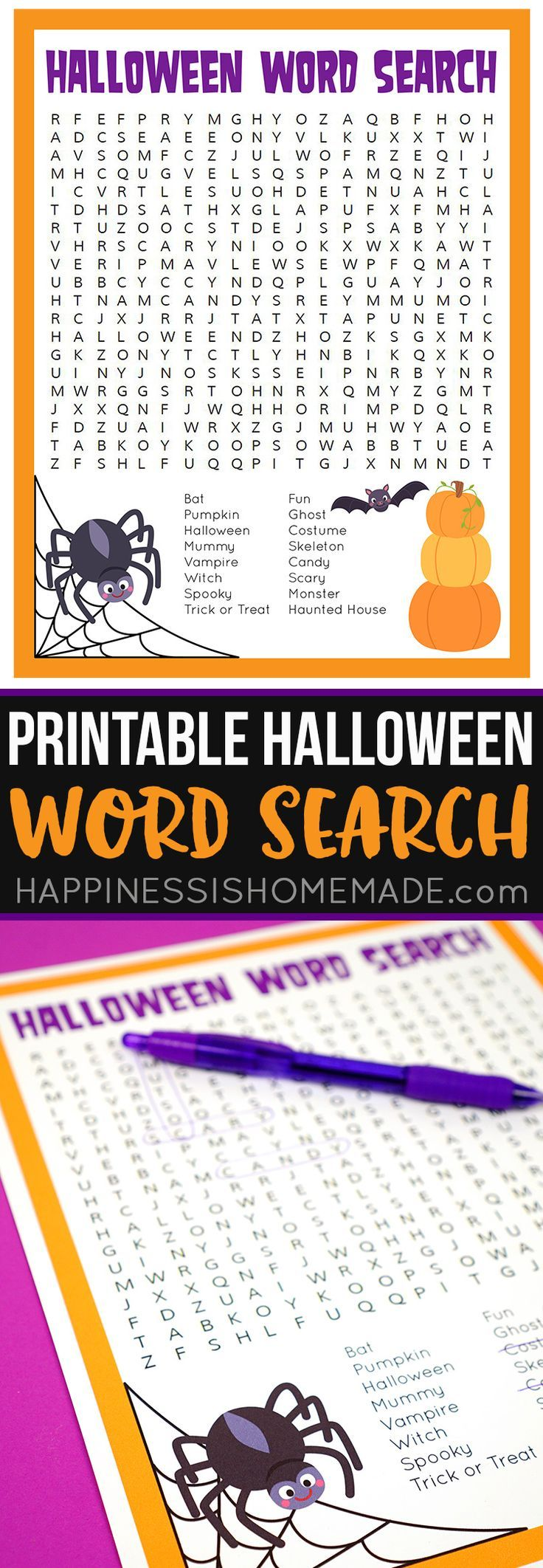 This spooky Halloween Word Search printable puzzle is a ton of fun for kids and families! Perfect for teachers and students in the school classroom! via @hiHomemadeBlog