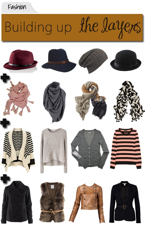 How to layer without thinking too hard: blouse or shirt with coat, add a scarf and a hat. These work great for spring when the weather and temp can change on a dime: loosen the scarf or remove the coat but they're there for evenings or showers.