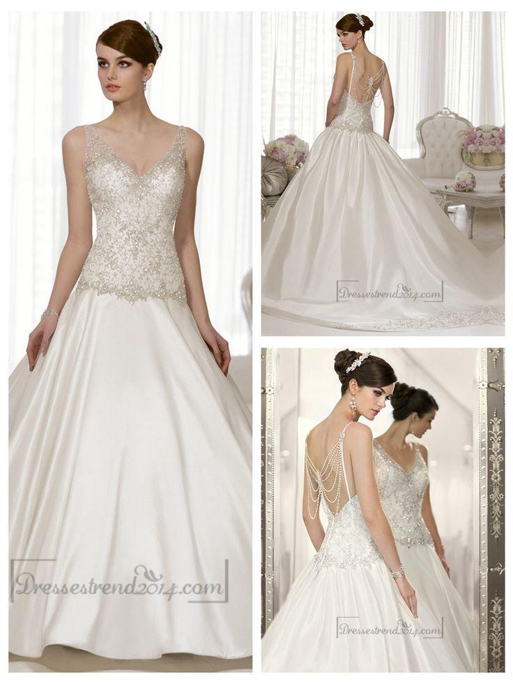 Straps V-neck A-line Hand Beaded Bodice Vintage Wedding Dresses