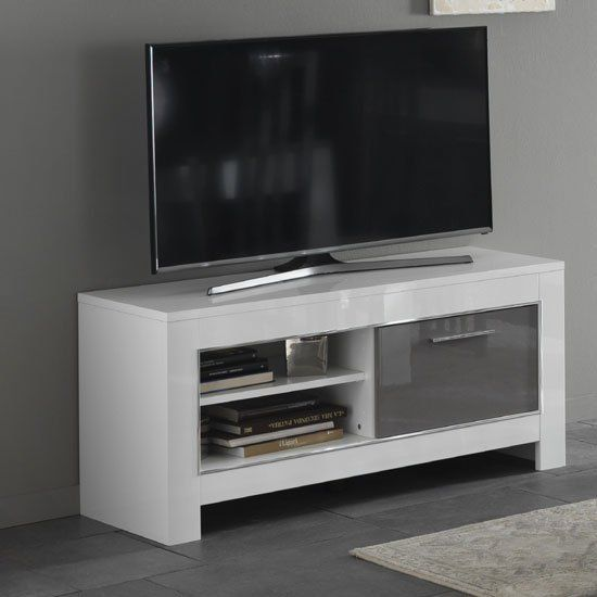 Lorenz Small Tv Stand In White And Grey High Gloss With 1 Door And