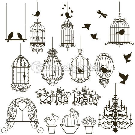 Vintage birds and birdcages collection. Isolated on white. Clipart. Vector.