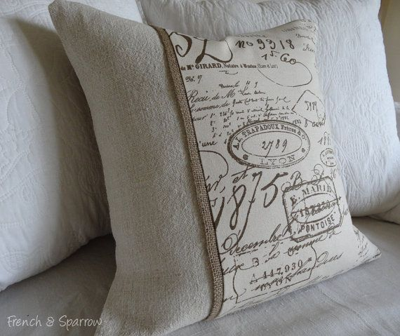 French Script & Vintage Grain Sack Cushion Cover With Burlap Trim.  LOVE this pillow cover!