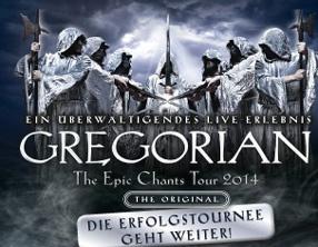 Gregorian Tour 2014 Live in Deutschland. Konzerte in Osnabrück (Osnabrückhalle), Karlsruhe (Stadthalle), Hamburg (CCH), Berlin (Tempodrom), Bonn (Beethovensaal), Heilbronn (Festhalle), Niedernhausen (Rhein-Main-Theater), Zwickau (Stadthalle), Erfurt (Messehalle), Nürnberg (Meistsingerhalle), Lübeck (Musik und Kongresshalle), Kiel (Sparkassen Arena), Bochum (RuhrCongress), Koblenz (Rhein Mosel Halle), Aachen (Eurogress), Düsseldorf (Mitsubishi Electric Halle) und Augsburg (Kongress am Park)