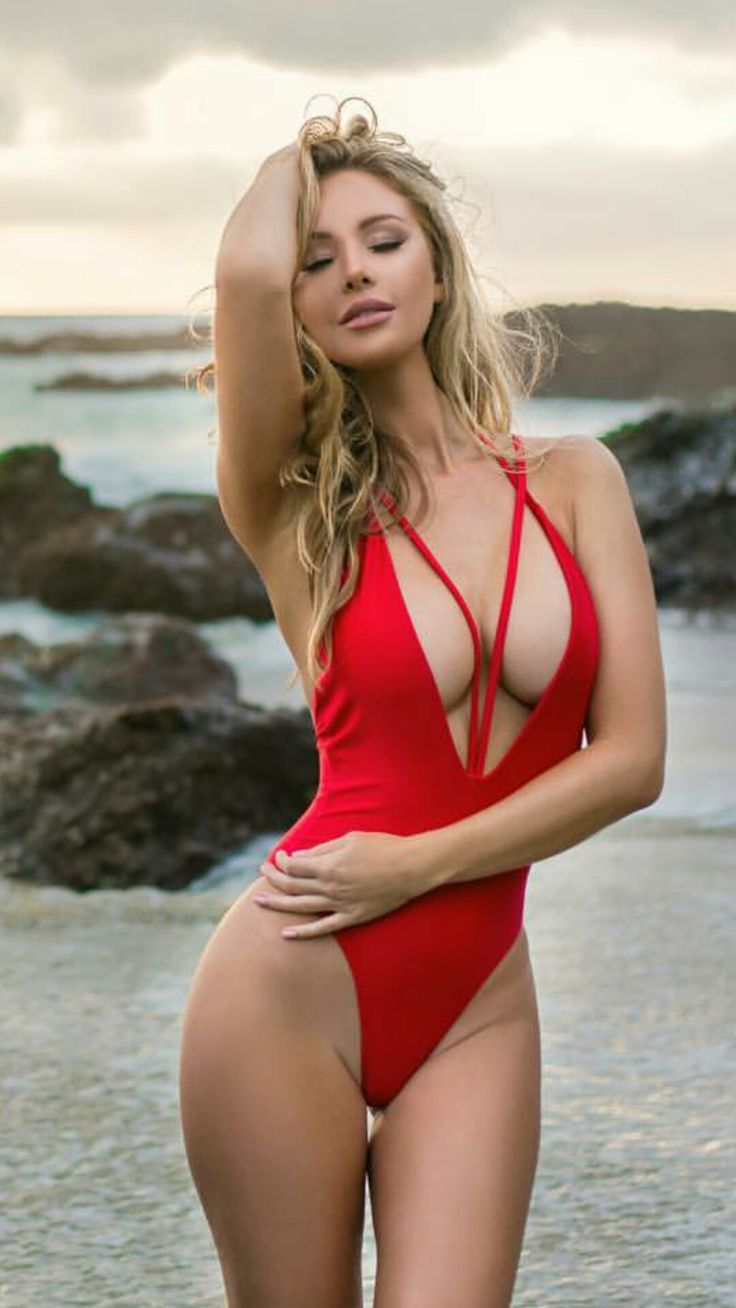 4k swimsuit pussy Red one-piece swim suit w/ cross front straps