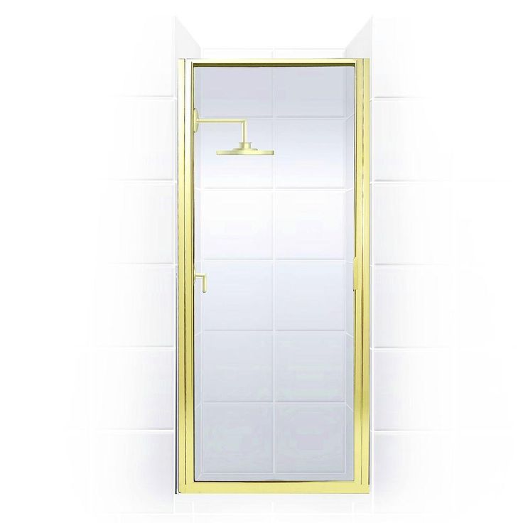 Coastal Shower Doors Paragon Series 34 in. x 74 in. Framed Continuous Hinged Shower Door in Gold with Clear Glass