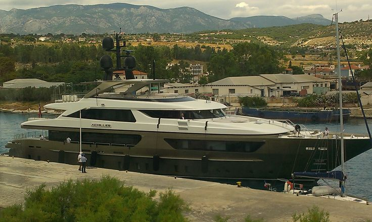 M/Y Achilles leaving the Isthmia pier after her transit.... #yacht #sea #holiday #sun #travel #cruising