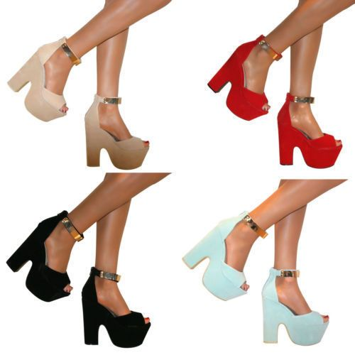 Mujer-Peep-Toe-Grueso-Cuna-Tobillera-Cremallera-Tacones-Plataforma-Sandalias