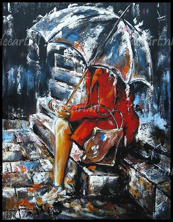 Acrylverf schilderij vrouw met paraplu