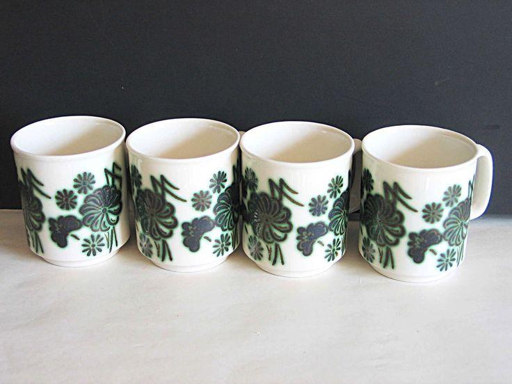 4 Piece Set Coffee Tea Mugs Cups Mod Green Brown Floral Wp Made England Sh