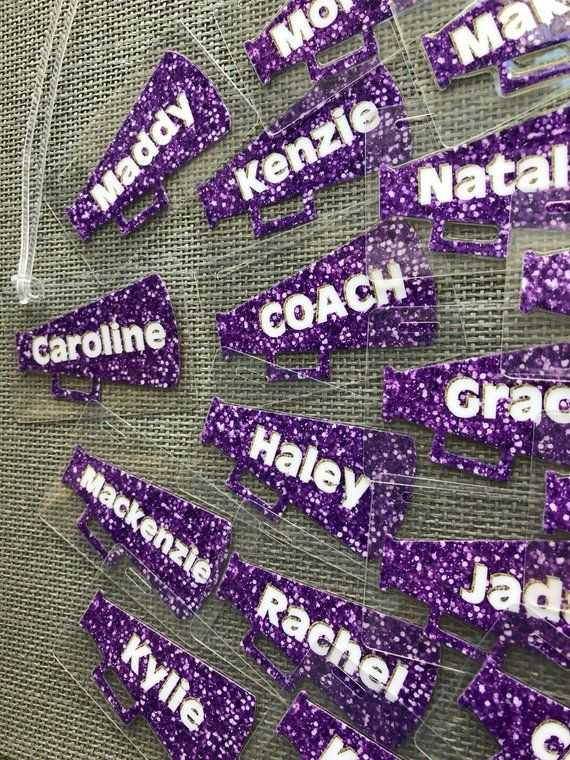 Personalized Cheer Gifts Megaphone Bag Tags Cheerleading Quany 15 30 Bulk Listing For Squad Orders Each Tag Is 4 95
