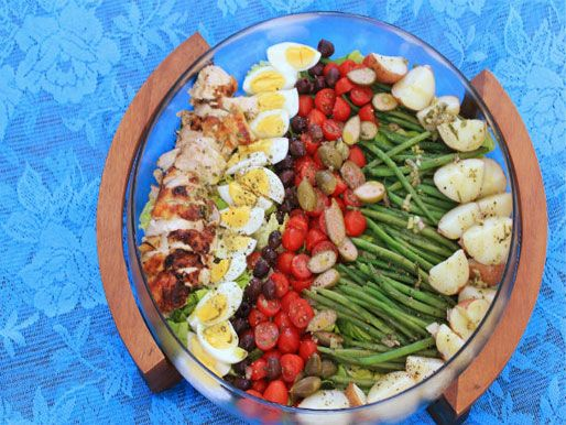 An easy grilled chicken spin on the classic Niçoise salad #recipe