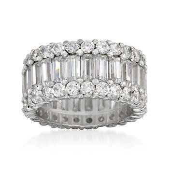6.70 ct. t.w. CZ Wide-Band Ring in Sterling Silver Ross-Simons. $122.50
