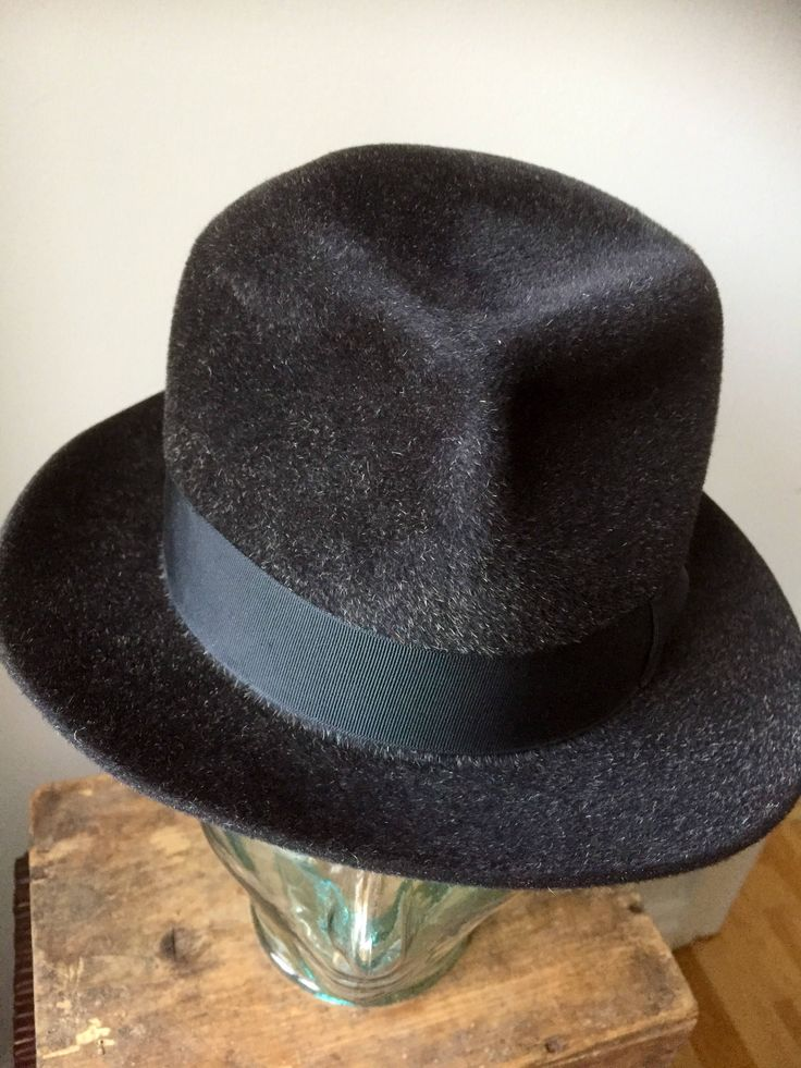 Royal Stetson/Vintage/cashmere/hat/black/gray/made in England/1940s by WifinpoofVintage on Etsy