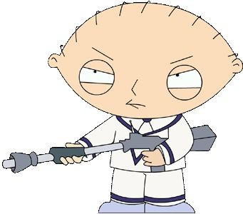 how to draw stewie griffin with a gun