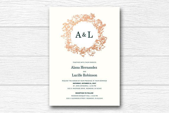 wedding invitation, wreath wedding invite, green & rose gold wedding invitation, modern and simple, floral, printable DIY