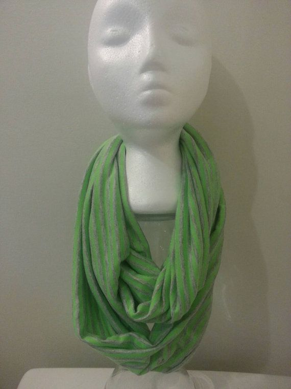 Lime green adult youth teen striped infinity scarf https://www.etsy.com/listing/218521610/silky-soft-lime-green-and-grey-striped