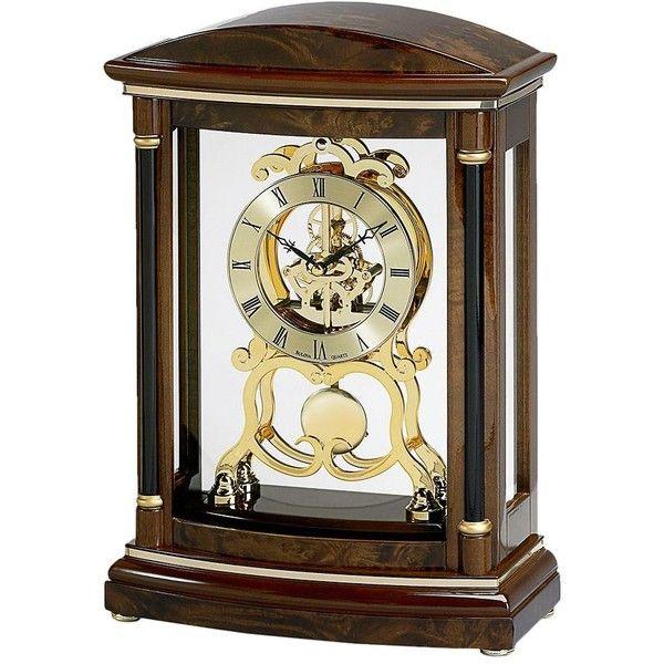 Bulova Valeria Wood Pendulum Skeleton Mantel Clock ($433) ❤ liked on Polyvore featuring home, home decor, clocks, brown, wooden plates, pendulum clock, skeleton clock, wood mantel clock and wood clock
