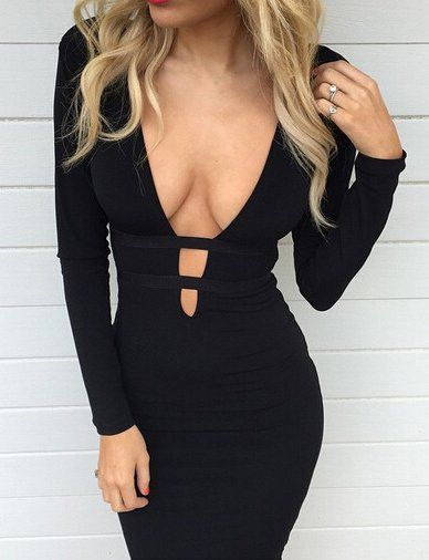 #fashion #accessories Alluring Deep V-Neck Long Sleeve Club Dress in Black   Black by Moda Tendone - Sexy Dress Black, Clothes, Fashionable, Sexy Dress, Women