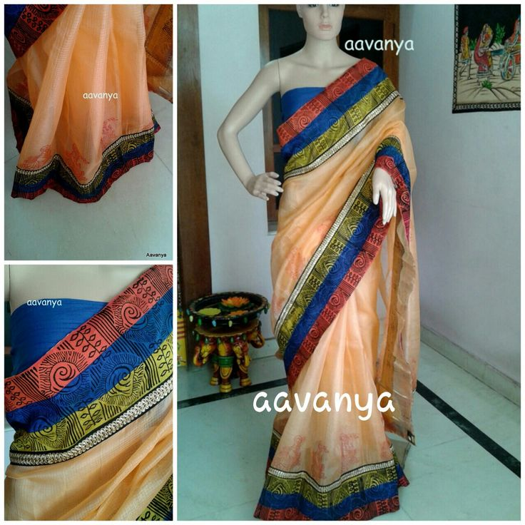 Peach silk kota block printed Sold out www.facebook.com/Aavanya