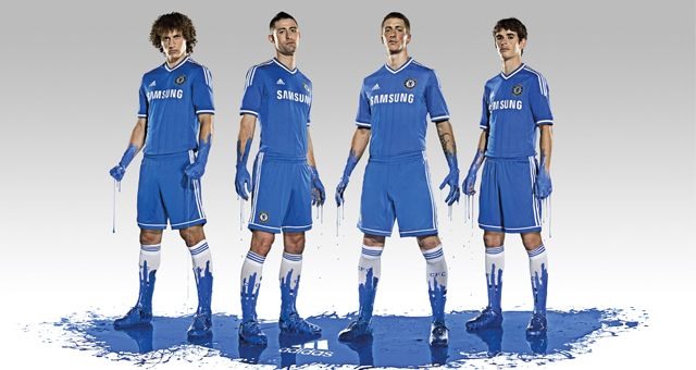 The new Chelsea FC kit which also advertises David Luiz, Tim Cahill, Torres and Oscar.