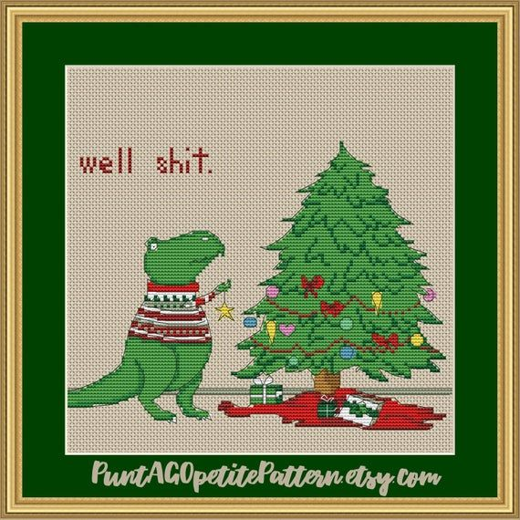 Cute Christmas t rex dinosaur cross stitch pdf pattern
