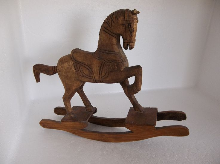 Vintage Handcrafted Brown Wooden Rocking Horse With An Aged Antique Look