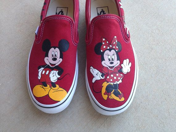 Custom Hand Painted Shoes - Minnie and Mickey Mouse Evolution on Etsy, $170.00
